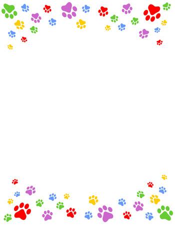 Kleurrijke hond pootafdrukken bovenste en onderste grens  kop- en voettekst op een witte achtergrond