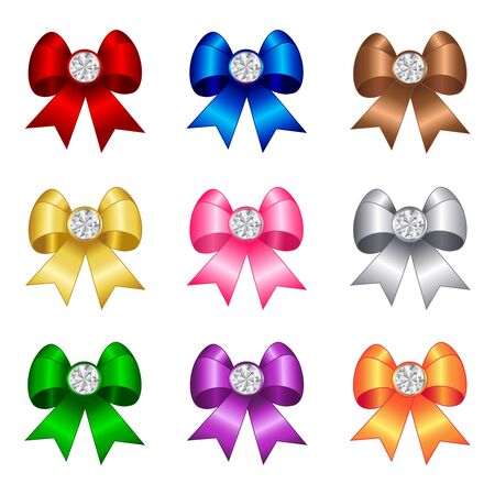 pink satin: Colorful ribbon bows collection with diamond on center isolated on white background