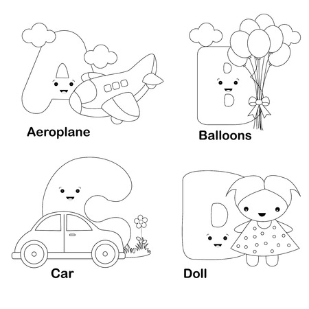 Illustration Of Alphabet Coloring Book Letters A, B, C, D, With ...