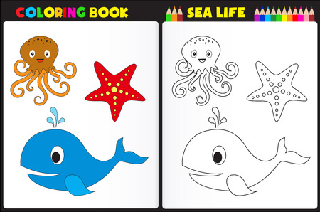 Nature coloring book page  activity worksheet for preschool kids with colorful sea animals