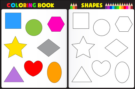 printable coloring pages: Coloring book page for kids with colorful shapes and sketches to color Illustration