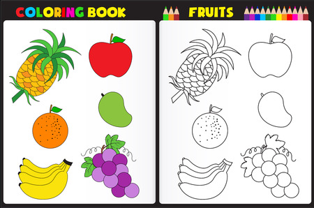 printable coloring pages: Nature coloring book page for preschool kids with colorful fruits and sketches to color