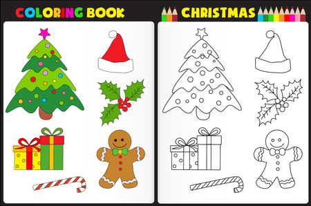 Nature coloring book page for preschool children with colorful Christmas objects
