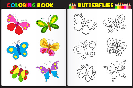 printable coloring pages: Nature coloring book page for preschool children with colorful butterflies
