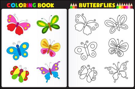 papillon dessin: page de livre de coloriage de la nature pour les enfants d'âge préscolaire avec des papillons colorés Illustration