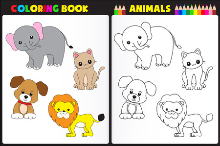 Nature coloring book page for pre school children with colorful animals and sketches to color