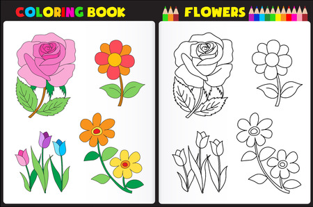 color pages: Coloring book page for pre school childern with colorful flowers and sketches to color