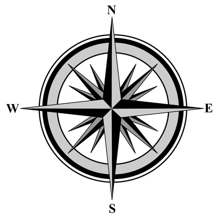 south east: Illustration of a compass with all directions north east south and west isolated on white background.