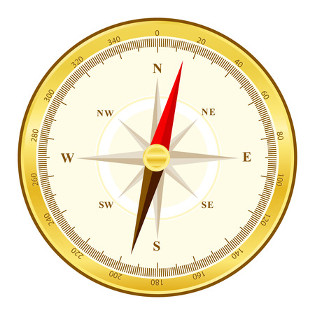 magnetic clip: Detailed illustration of a golden compass with all directions north east south and west isolated on white background.