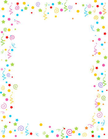 Colorful falling confetti party frame with empty space in center