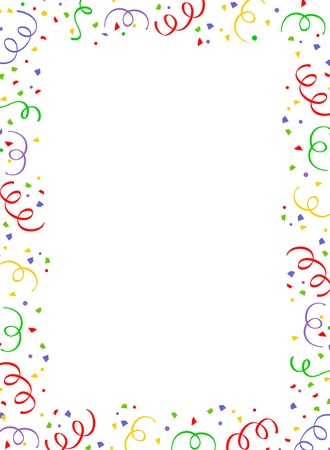 Colorful falling confetti party frame with empty space in center Stock Vector - 38546012