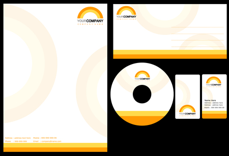 dvd cover: Set of corporate identity items, easy to customize letterhead envelope CD, DVD cover and business cards Illustration