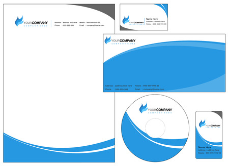 hojas membretadas: Conjunto de elementos de identidad corporativa, fácil de personalizar CD sobres con membrete, cubierta de DVD y tarjetas de visita