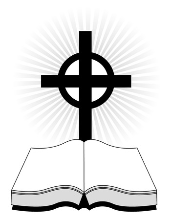 cruz religiosa: Silueta de una biblia santa con una cruz en el fondo brillante