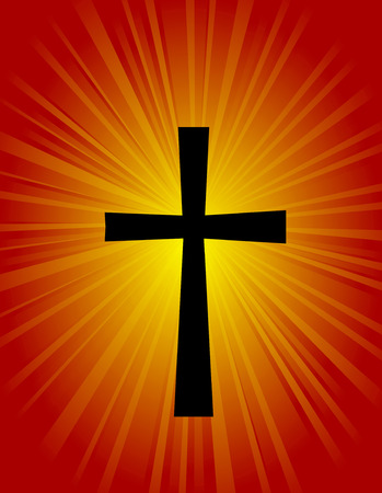 abstract symbolism: Silhouette of a cross on glowing red  orange background Illustration