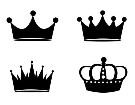 corona de princesa: Ilustraci�n de siluetas negras corona aislado en fondo blanco