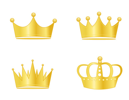 Collection of golden crowns isolated on white background Ilustração