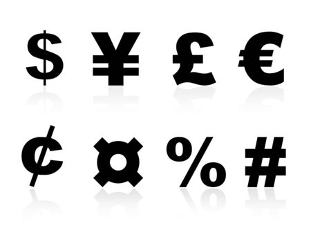 share prices: Collection of black color currency symbols isolated on white background Illustration