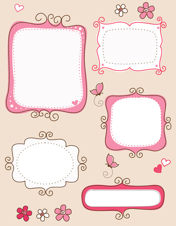 scrapbooking: Collection of nice cute doodle frames on white background. specially for spring scrap booking