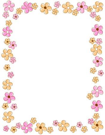 spring flowers: Colorful spring flowers border  frame Illustration
