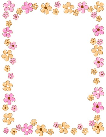 flowery: Colorful spring flowers border  frame Illustration