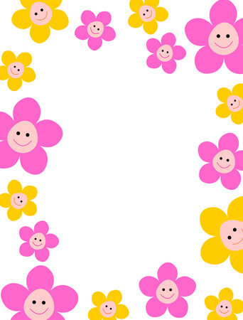 Beautiful pink and yellow spring floral frame with happy smiling faces
