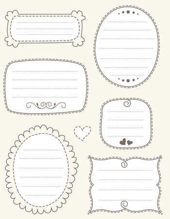 scrap: Collection of nice doodle frames on light brown background. specially for scrap booking