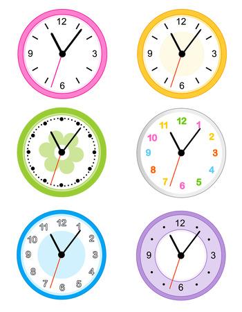 reloj pared: Colección de diferentes reloj de pared lindo y colorido tipo caras aisladas sobre fondo blanco ilustración