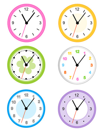 Collection of different type cute and colorful wall clock faces isolated on white background illustration