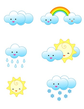 drizzle: Collection of cute and colorful weather related icons isolated on white background
