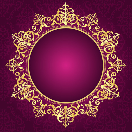 visiting card: Elegant gold ornamental circle frame on pink damask pattern background.. perfect as stylish wedding invitations and other party invitation cards or announcements