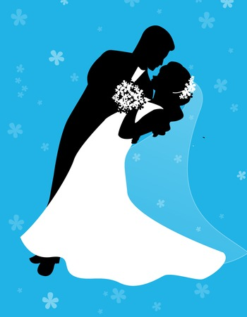 bride groom silhouette: Silhouette of a dancing couple [bride and groom]with cute blue floral  flower background suit. Illustration