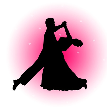 Silhouette of a dancing couple together on pink falling hearts background. great for wedding , valentines Day, Love greeting cards and invitations Ilustracja
