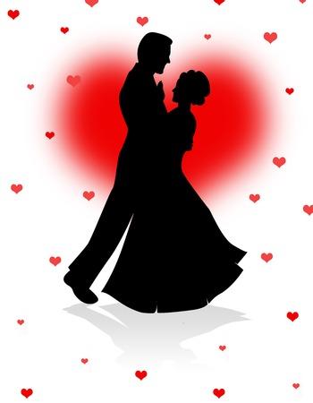 pareja bailando: Silueta de la pareja bailando juntos en corazones fondo rojo