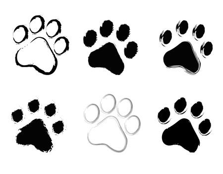 animal tracks: Grunge mascota (perro y gato) colección huellas aisladas sobre fondo blanco Vectores