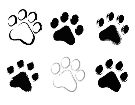dog track: Grunge pet ( dog and cat ) paw prints collection isolated on white background