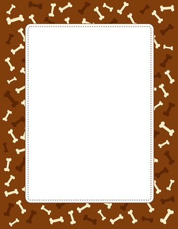 Stylish paw dog bone textured frame/ border with empty white space Stock Illustratie