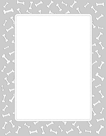 raum weiss: Hundeknochen Rahmen Textur mit der epty Leerraum in der Mitte Illustration