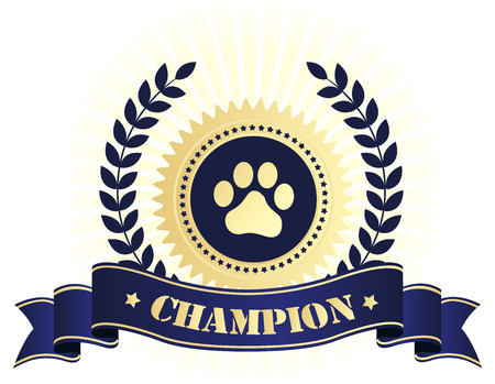 seal stamp: Elegant blue and golden seal  stamp with blue ribbon with champion text and paw print on center. perfect for dog show things