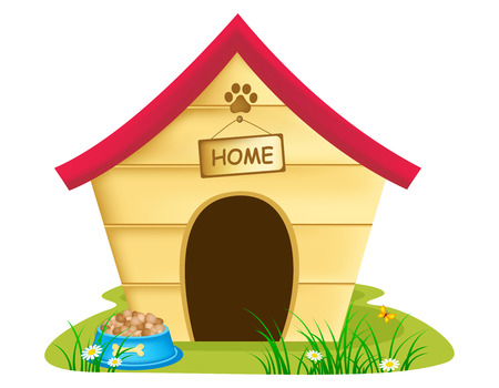 Illustration of dog kennel with text 'home ' on a notice board, bowl of biscuits and grass and daisies surrounding it, white background.