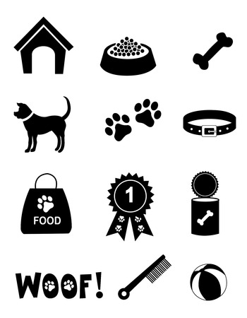 Silhouette of dog related ison collection isolated white background