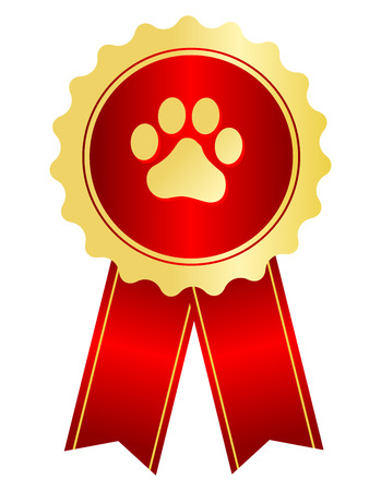 red competition: Dog competition winner gold award ribbon  stamp seal with red ribbon and paw print on center