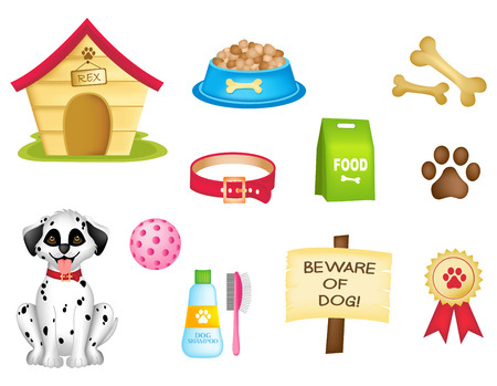 Dog and dogs stuff colorful clipart isolated on white background