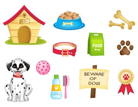 perro caricatura: Clipart colorido aislado en el fondo blanco perro y los perros rellenan Vectores