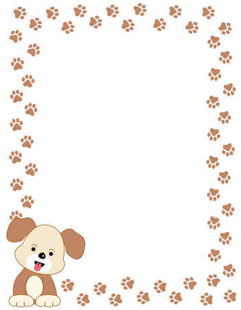 dog track: Brown color dog paw print border  frame with a cute dog in left bottom corner