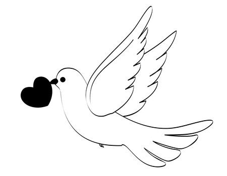 Silueta de una paloma / paloma con una ilustración de corazón aislado en blanco Foto de archivo - 38544207