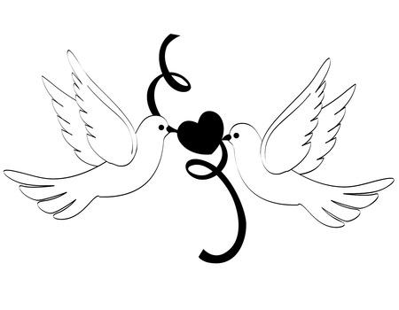 siluetas de enamorados: Dos palomas blancas  palomas sostienen una clipart corazón y la cinta aisladas sobre fondo blanco Vectores