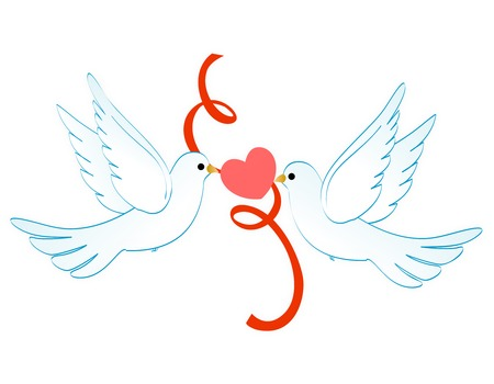 heart clipart: Two white pigeons  doves holding a red heart and ribbon clipart isolated on white background