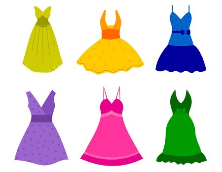 Colorful party dress collection isolated on white background Vector