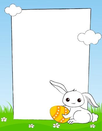 Schattige witte Pasen konijntje met kleurrijke easter egg frame / grens